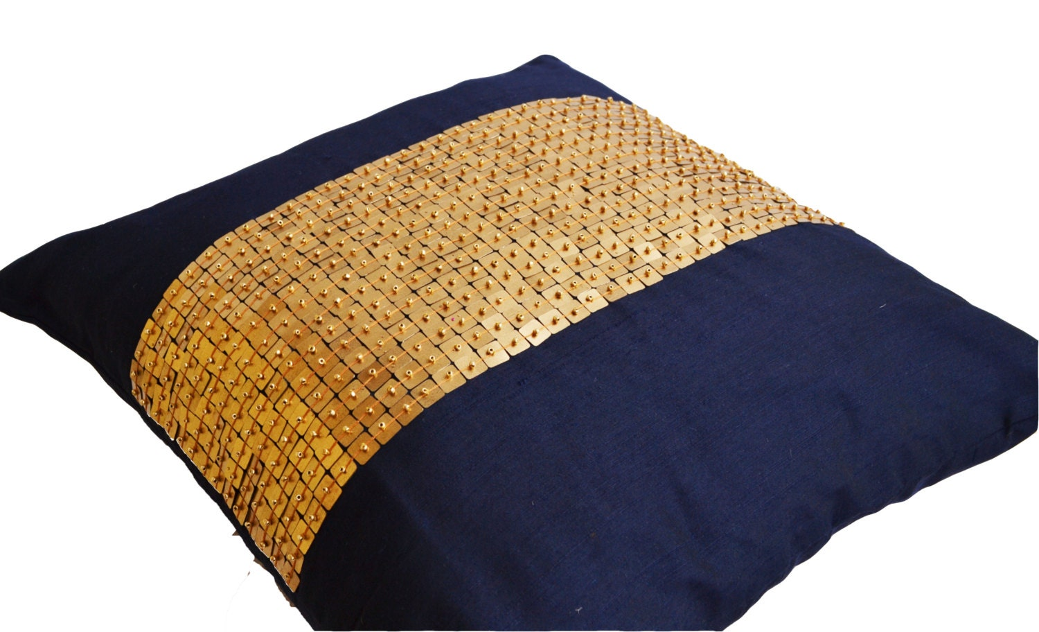 Throw Pillows Navy Blue gold color block in silk sequin bead