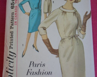 Simplicity 5170 size 18 pattern for a 1960s slim dress with tunic apron