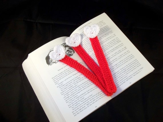White and Red Crocheted Bookmarks- Set of 3 - Crochet Bookmarks with Hearts