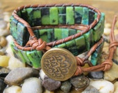 Leather double wrap bracelet with turquoise beads and metal button