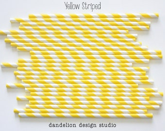 Buy 2, Get 1 FREE!!!    YELLOW Striped Paper Straws - Pack of 25 - Dandelion Design Studio