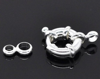 10pieces Silver Plated Copper Spring Rings Clasps,Round Claw Clasps
