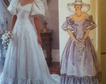 "1980s Vintage Vogue Bridal Gown Pattern 1366 Size 14,  Bust 36"",  Waist 28"", Hip 38""."