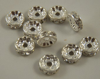 10mm Silver Plated Rhinestone Rondelles w/ Middle East Stones (10) - HAND SELECTED