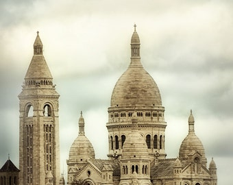 "Paris Photography - Sacre Coeur Basilica, beige, Montmartre, Paris wall decor, travel, architecture, Paris wall art -  ""Heavenly Thoughts"""