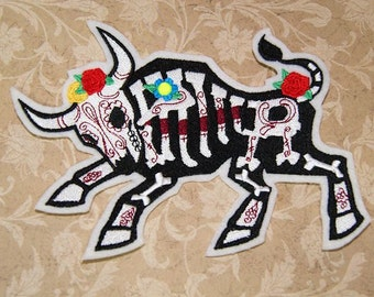 Gothic Bull Skeleton Day of the Dead Iron On Embroidery Patch MTCoffinz