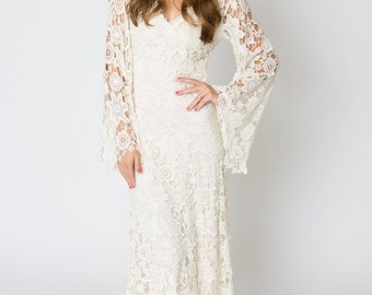 Bohemian Lace Crochet Hippie Wedding Dresses Boho Embroidered Maxi Lace