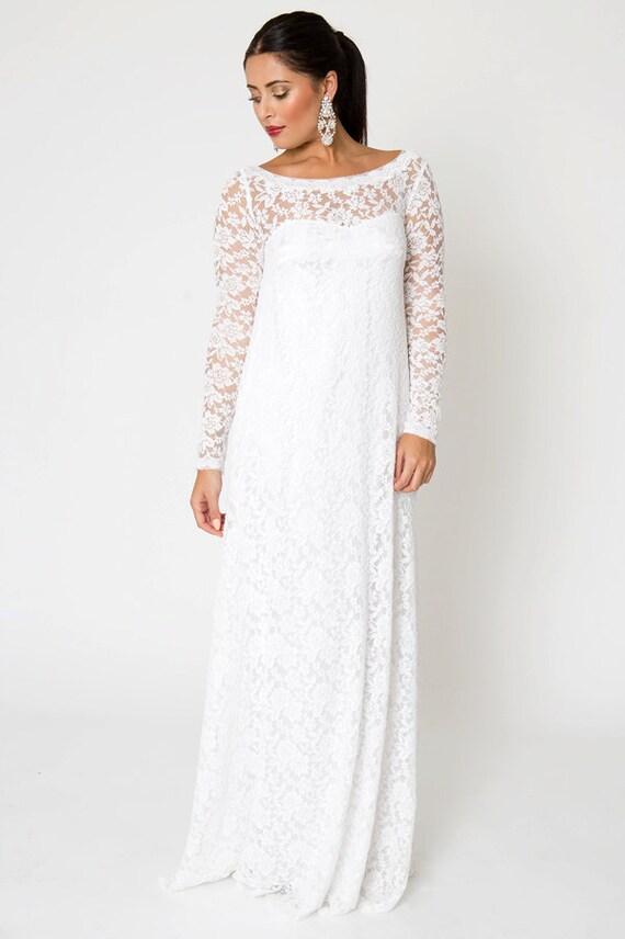 Lace wedding dress simple bohemian wedding dress long sleeve wedding