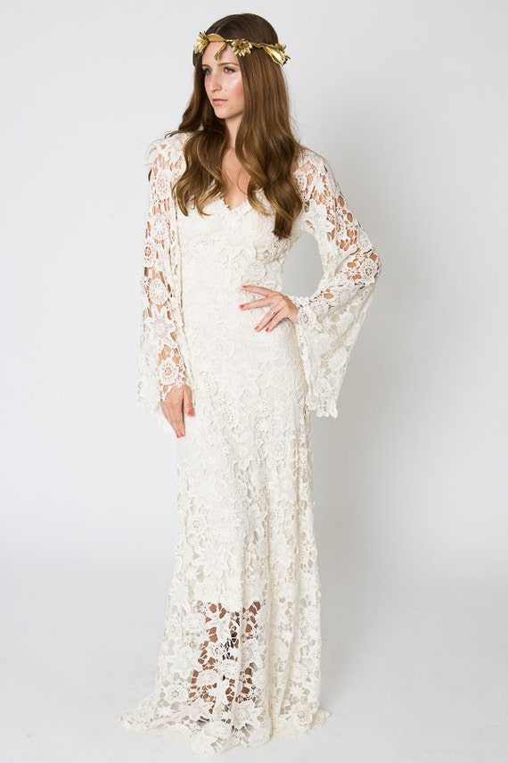 Vintage inspired bohemian wedding gown bell sleeve lace Hippie vintage wedding dresses