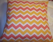 Decorative Pillow Cover, Throw pillow Cover Single 18 x 18 Coral and Mustard Chevron