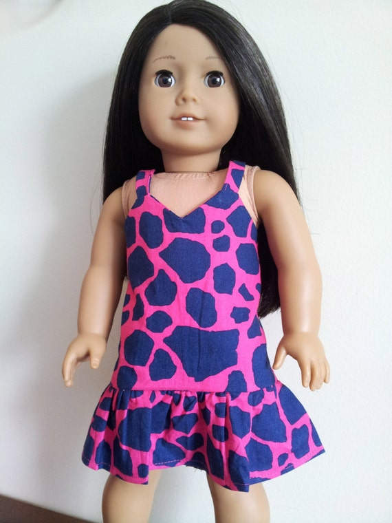 Pink and Navy Animal Print Shift Dress for American Girl and other 18 inch dolls