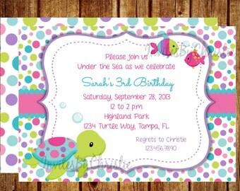 Under the Sea Birthday Invitation for Girls- Digital File - DIY Printable