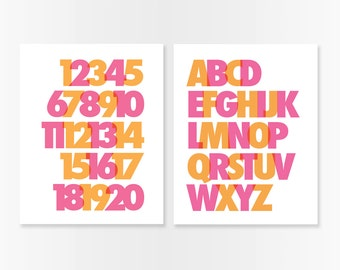 ABC and 123 Nursery Art Prints SET - Modern Alphabet and Numbers in Pink and Orange Nursery or Kids Room Wall Art - Choose Your Colors