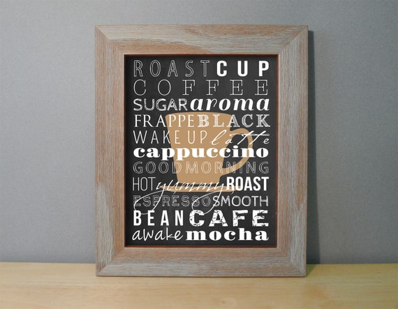 Coffee Sign Coffee Art Print Kitchen Wall Decor Black