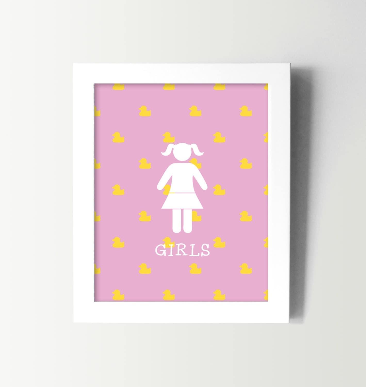 little girls bathroom sign kids bathroom wall art kids. Black Bedroom Furniture Sets. Home Design Ideas