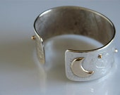 Handmade Silver Moon and Star Cuff Bracelet with 14k gold accents By A.M. Sterling, Womens Gift, Unique Jewelry