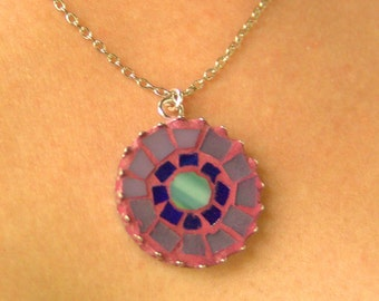 Mosaic neclace, round stained glass jewelry, purple tones