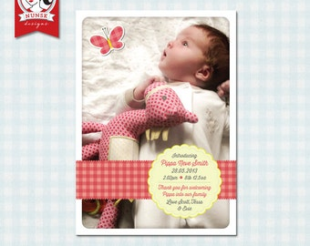 Gingham Photo Birth Announcement - Girl - Custom, Printable