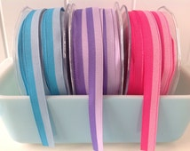"""2 Yards 1/2"""" Two Toned Grosgrain Ribbon, 1/2 Inch Grosgrain / Two Band Ribbon, Ribbon, Scrapbooking, Packaging, Crafts Supplies"""