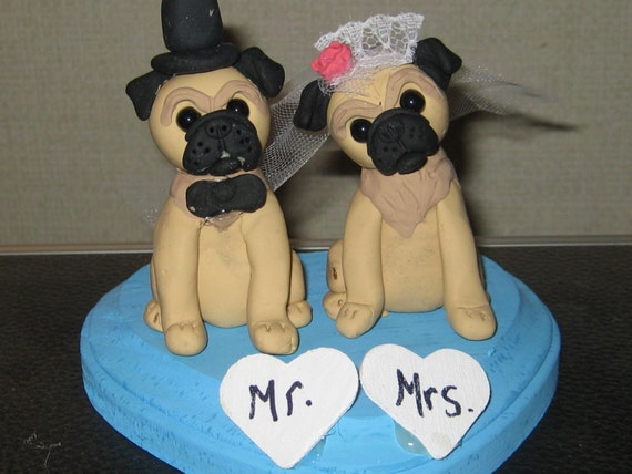 custom wedding cake toppers with dogs custom made pug wedding cake toppers by 13262