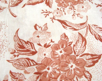 Romantic Vintage Fabric, Delicate Flower Print, Soviet Fabric