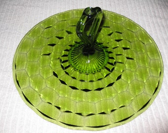 """VINTAGE GREEN PLATE With Center Handle 13"""" Across"""