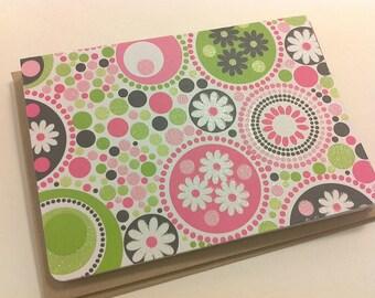 blank note card  set : bright retro  pink/green/black