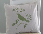 Stenciled PILLOW COVER Rustic Cottage Canvas Hand Stenciled Bird [18x18]