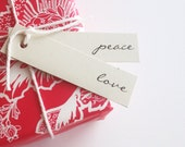Holiday gift tags - Christmas love peace be merry tags - eco friendly gift tags flag tags christmas holiday tags