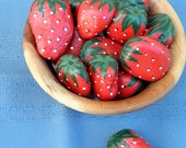 ROCK ART Hand Painted Red Strawberries, Interactive 3D Acrylic Art