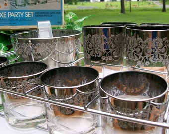 Vintage Mid-Century ROYAL LUSTER Etched Silver Ombre Glassware Set (4) Highball / (4) Lowball Glasses with Ice Bucket and Caddy Still in Box