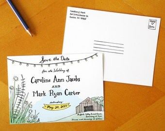 A Rustic Romance: Painted Save the Date Postcards