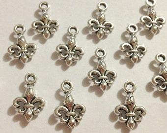 10 Antique Silver 3D Small Fleur De Lis Charms