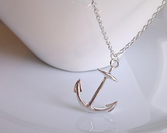 Anchor Necklace, Long Anchor Necklace, Silver Anchor Necklace, Nautical Necklace, British Seller UK, Gifts for Girls, Gifts for Her