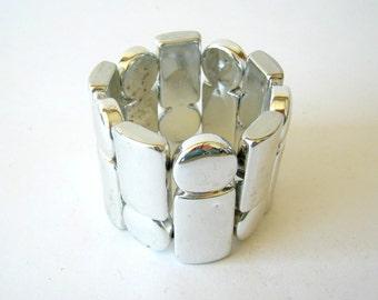 Clearance Sale - 80's jewelry - silver tone cuff bracelet