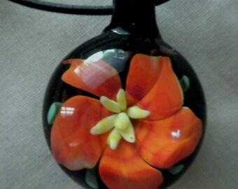 Orange Flower Glass Pendant
