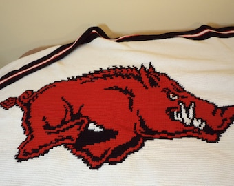 Arkansas Razorbacks Crochet Afghan