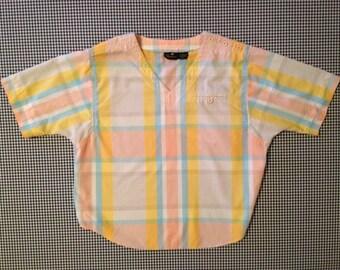 1980's, lightweigt cotton shirt in plaid pastels, by liz claiborne