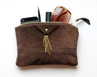 Natural leather purse / repurposed brown suede leather / mini clutch bag / make up bag