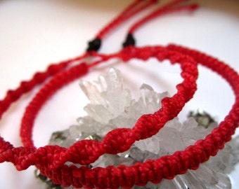 X2 Red Friendship/Love/Surf Bracelet Macrame Handmade