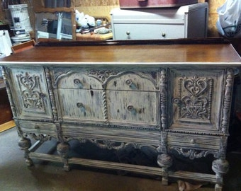 SOLD  Antique white distressed shabby chic Buffet furniture