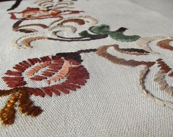 Vintage Natural  Organic Linen Tablecloth, Floral Handmade Embroidery, Polish vintage pre-second war