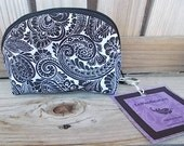 Black and White Paisley Odorless No Smell Bigger Zipper Keychain Pouch