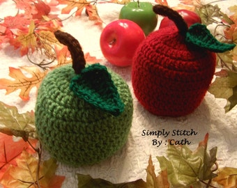 Crochet Apple Hat (Red & Green) - Baby Photography Props Hats