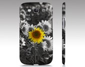Phone Case, iPhone 7, 7 Plus, 5/5S, 6/6S & Plus, Samsung Galaxy S3/S4/S5/S6/S7, Sunflower, Black, White, Yellow, Photography, Flower Photo