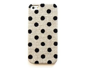 FABRIC - Dot iPhone 5 case, iPhone 6 case, Linen iphone case, Natural iPhone case