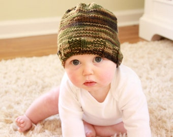 Knit Baby Hat in Camo