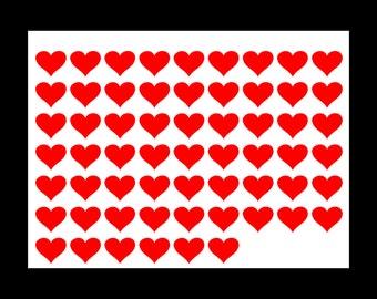 60 vinyl stickers hearts
