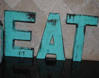 Items similar to eat word vintage inspired rustic for Kitchen letters decoration