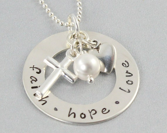 Faith hope love necklace hand stamped by magpiessecretonetsy for Faith hope love jewelry